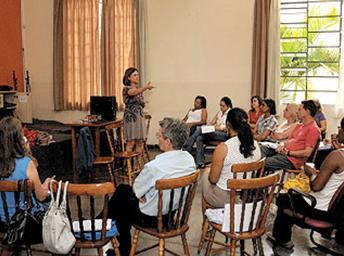 Conselheiros reunidos para devolutiva dos cursos promovitos em parceria com Senac